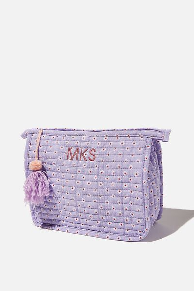 Personalised Quilted Cosmetic Pouch, LILAC DAISY