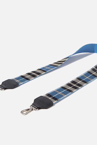 Check Long Bag Strap, BLUE