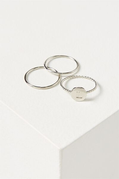 Letter Pendant Ring, SILVER - L