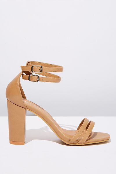 Shelby Double Strap Block Heel, NUDE SMOOTH