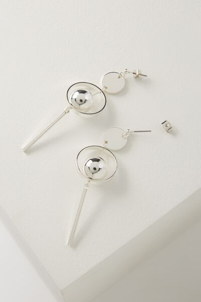 Ball Statement Earring, SILVER