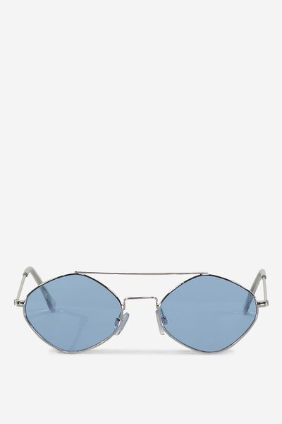 Hexy Top Bar Sunglasses, BLUE/SILVER