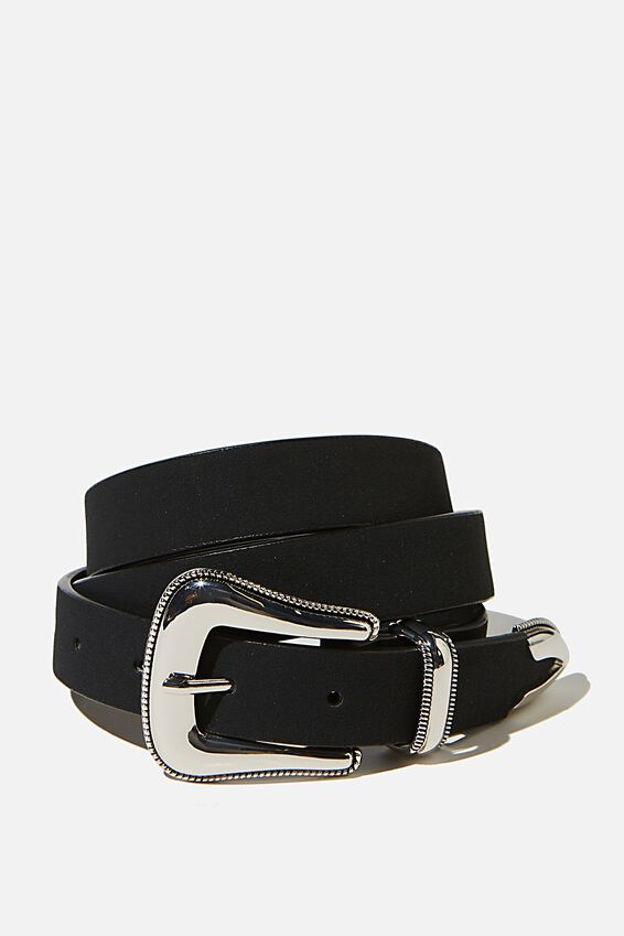 Clean Western Belt, BLACK NUBUCK