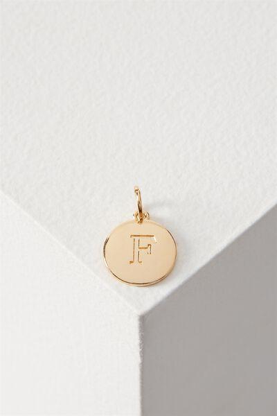 Letter Flat Pendant Charm, GOLD - F