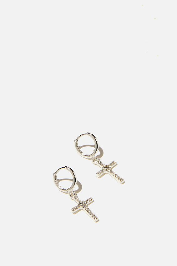 Ear Party Luxe Huggie Hoops, DIAMANTE CROSS SILVER