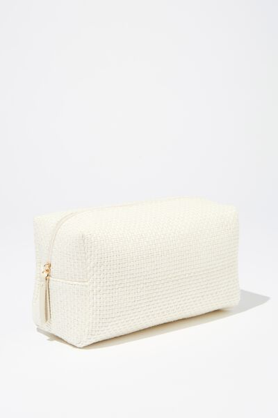 Marlee Cosmetic Case, WHITE/ NATURAL WOVEN