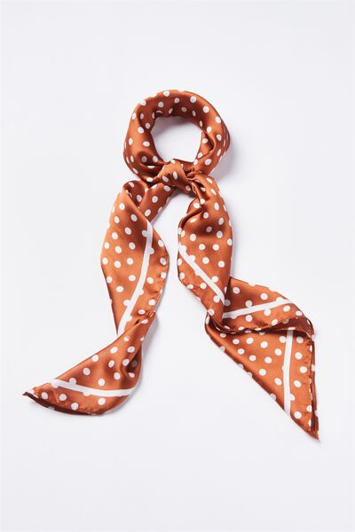 Fleur Large Satin Scarf, RUST MINI SPOT