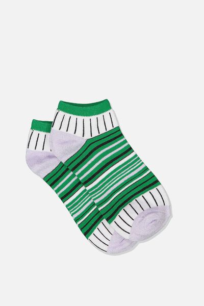 Get Shorty Ankle Sock, LUSH MEADOW STRIPE