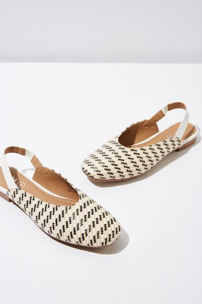 Olivia Square Toe Slingback, NEUTRAL STRIPE RAFFIA/WHITE PU