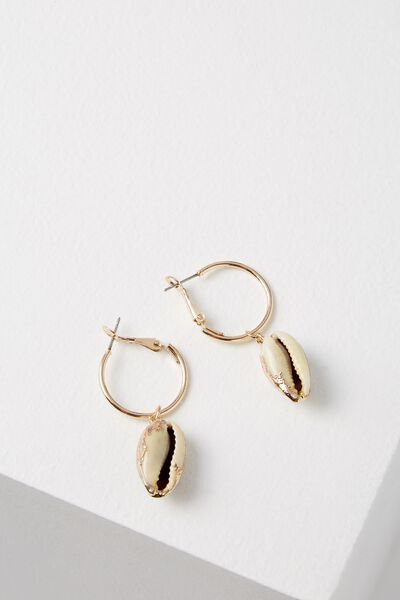 South Bay Earring, GOLD/COWRIE