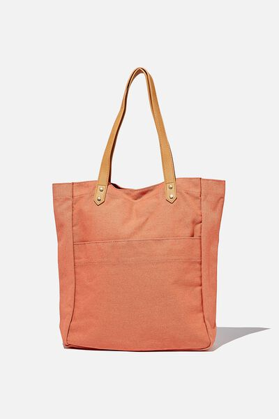 Olive Carryall Tote Bag, CORAL