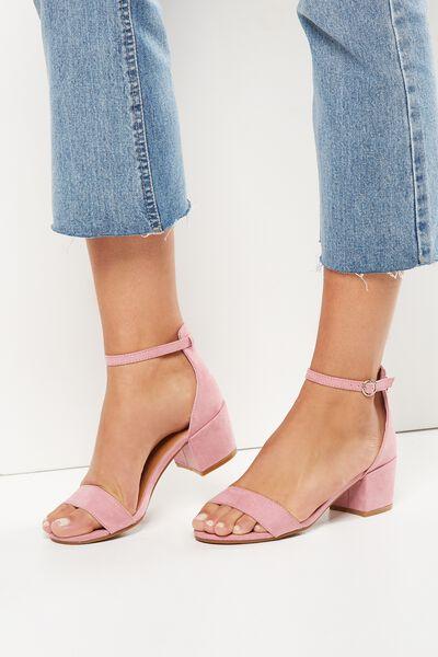 Ivy Low Block Heel, PEONY PINK