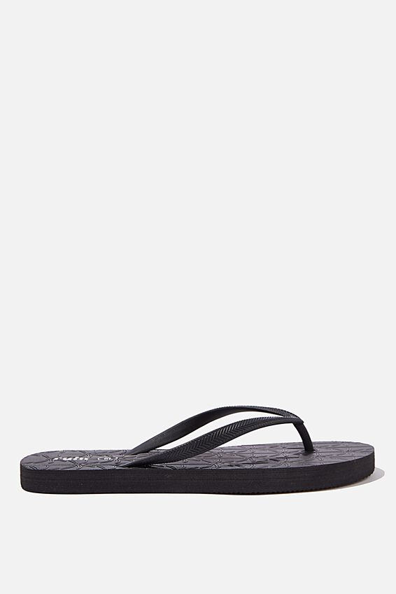 The Rubi Flip Flop, BLACK EMBOSSED PALM