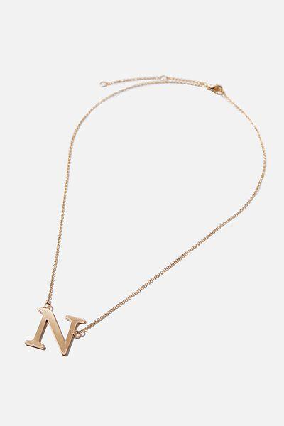 Tilted Letter Necklace, GOLD N