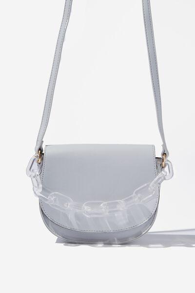 Chunky Chain Handbag, GREY WITH CLEAR CHAIN