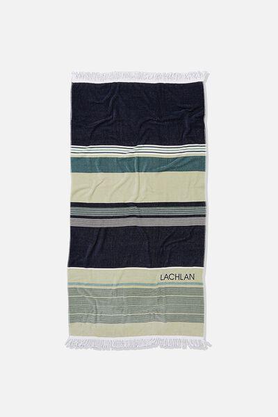 Personalised Bondi Rectangle Towel, DEEP AQUA FORESHORE STRIPE
