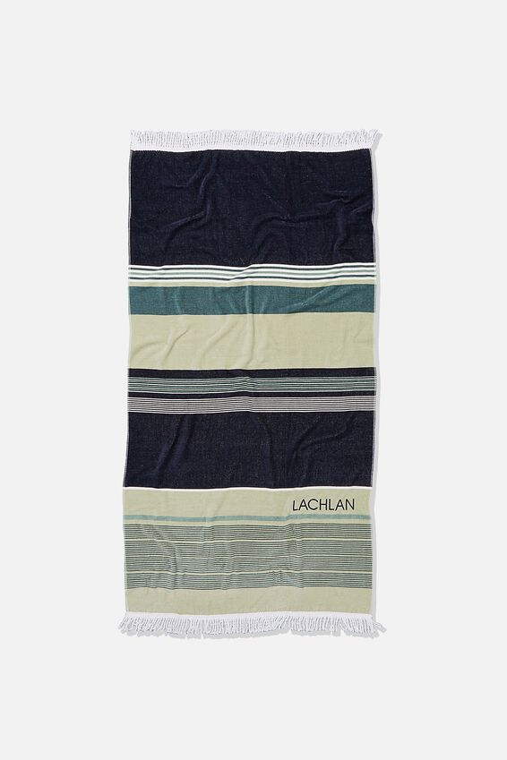 Personalised Bondi Rectangle Towel, DEEP AQUA FORESHORE STRIPE