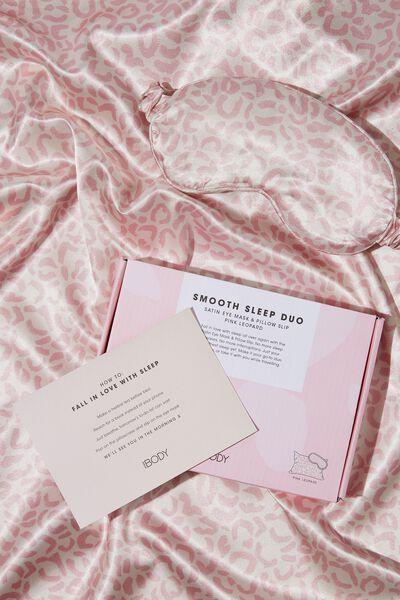 Body Home Spa | Satin Eyemask & Pillow Slip Set, PINK LEOPARD