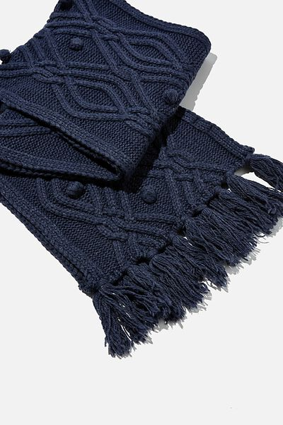 Heritage Knit Scarf, DARK GRISAILLE CABLE KNIT