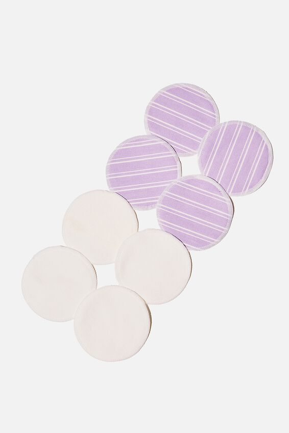 Reusable Cleansing Pads 8Pk, LORETTA STRIPE/LILAC BLOSSOM
