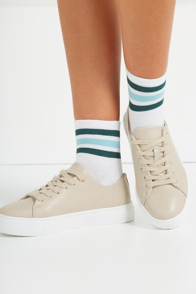 Triple Stripe Sock, WHITE/GREEN STRIPE
