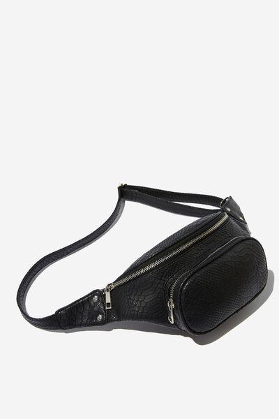 Casey Large Belt Bag, BLACK CROC