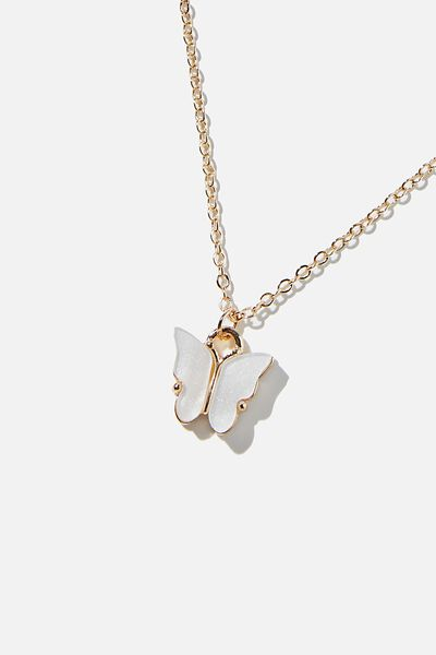 Treasures Short Pendant, GOLD BUTTERFLY WHITE