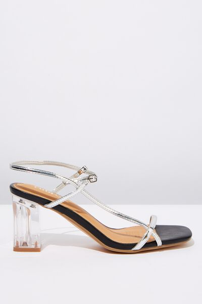 Hannah Thin Strap Heel, SILVER