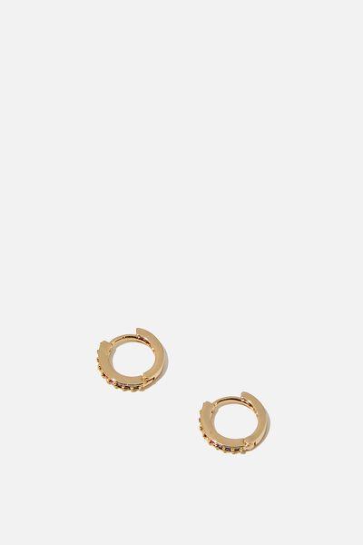 Premium Huggie Hoop, GOLD PLATED RAINBOW DIAMANTE