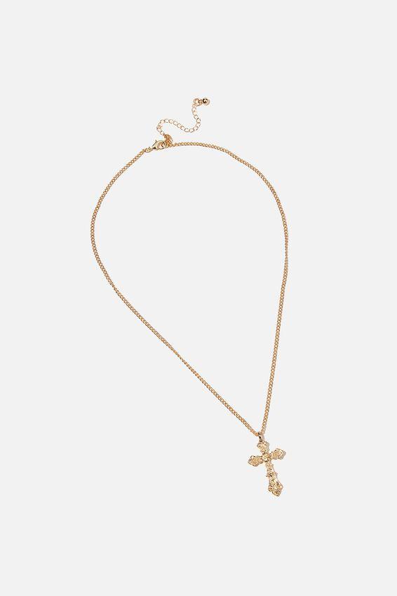 Treasures Short Pendant Necklace, GOLD ANTIQUE CROSS