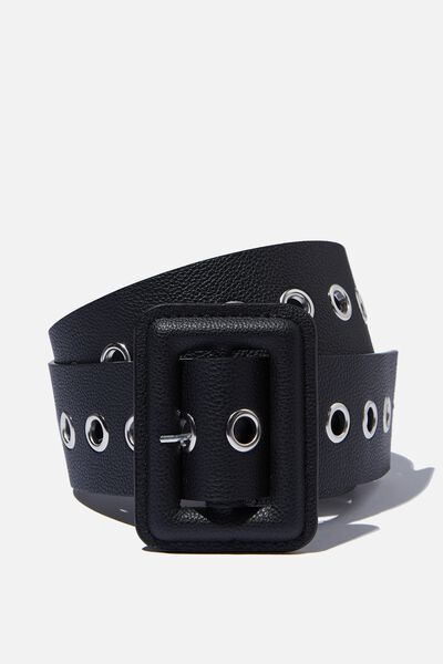 Wide Eyelet Waist Belt, BLACK PEBBLE