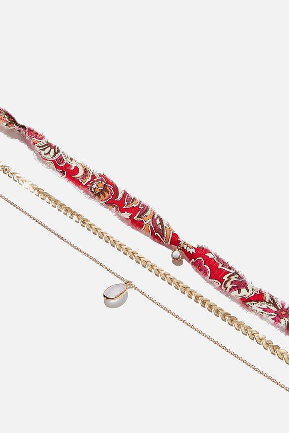 Bora Bora Necklace, GOLD/DARK PINK