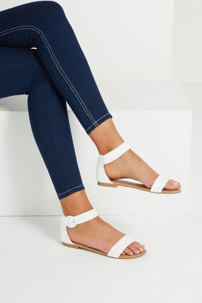 Francesca Single Vamp Sandal, WHITE