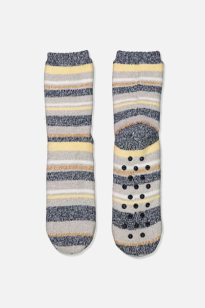 Coc Loungin Round Sock, NAVY STRIPE