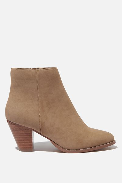 Isabelle Heeled Ankle Boot, TAUPE NUBUCK
