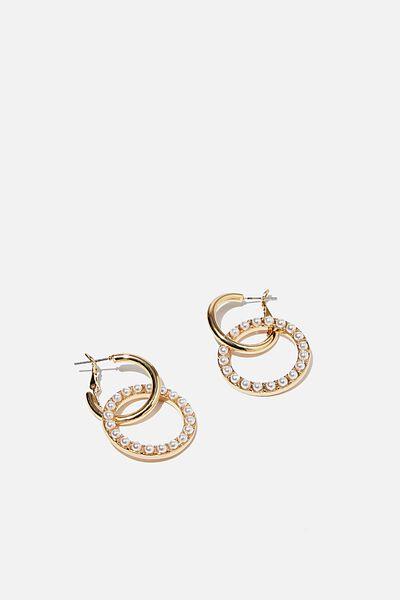 Loop The Hoop Pearl Treasures Earring, GOLD/PEARL