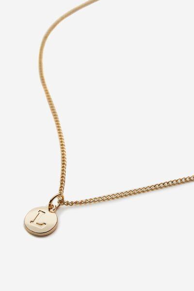 Letter Charm Necklace, GOLD L