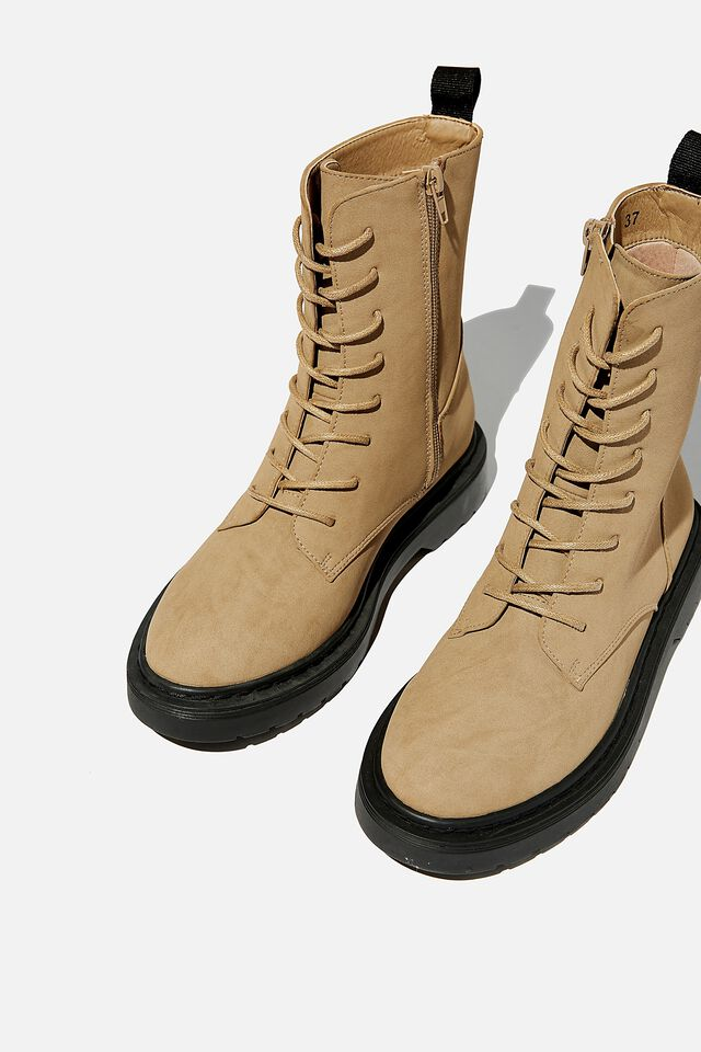 Freda Combat Lace Up Boot, TAUPE NUBUCK