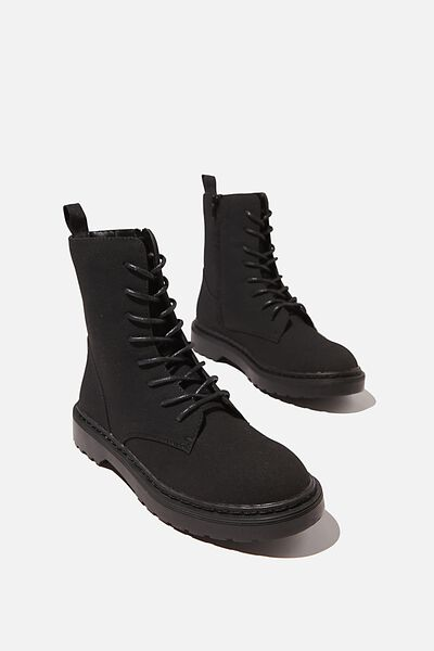 Freda Combat Lace Up Boot, BLACK SUEDE PU