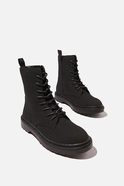 Freda Combat Lace Up Boot, BLACK SUEDE PU