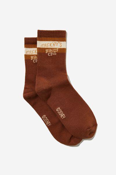Fine Rib Sports Sock, LCN DIS MICKEY HIKING CLUB