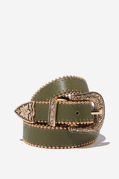 Western Skinny Studded Belt, KHAKI W/ GOLD