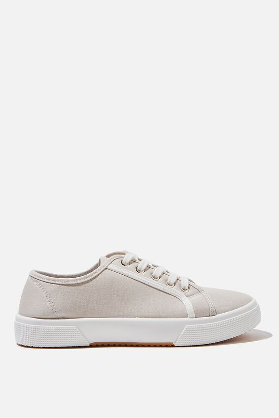 Lisa Lace Up Plimsoll, GREY WHITE CONTRAST STRIPE