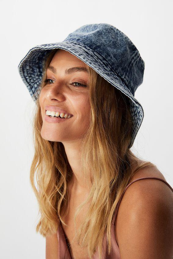 Bianca Bucket Hat, WASHED DENIM