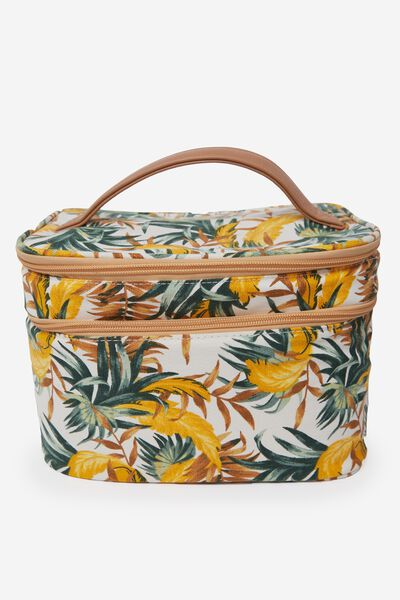 Dual Zip Vacay Cos Case, BANANA LEAF