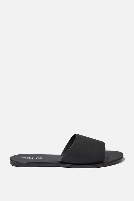 Carrie Minimal Slide, BLACK NUBUCK/BLACK