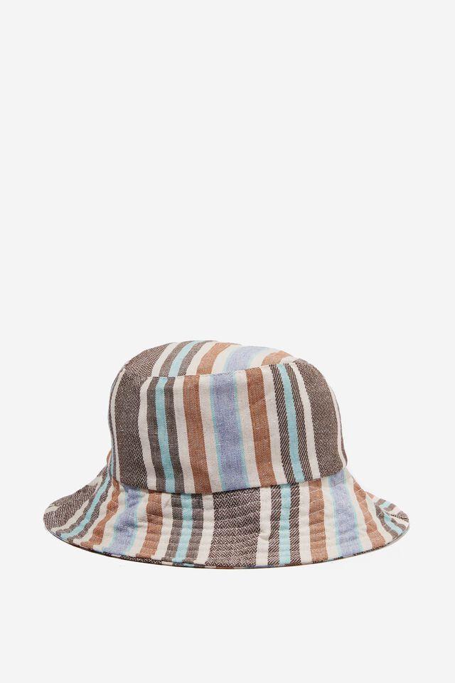 Bianca Bucket Hat, BLUE/BROWN STRIPE