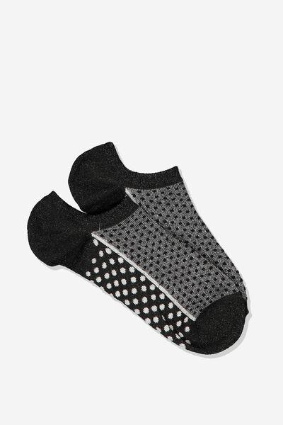 Sports Low Cut Sock, SPLICED BLACK/WHITE SPOT