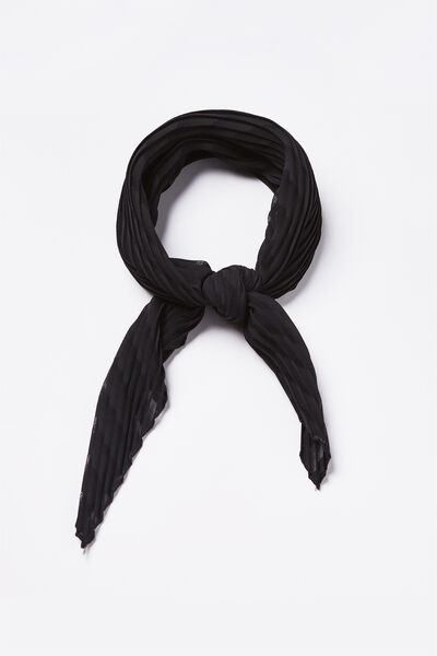 Soho Broadway Pleat Scarf, BLACK SELF STRIPE