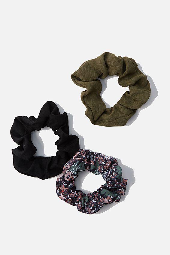 3Pk Scrunchies, EMILY PAISLEY FLORAL BLACK TRIO